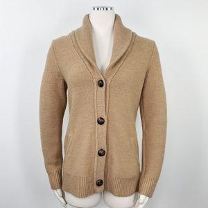 Max Studio Chunky Camel Wool Shawl Collar Cardigan